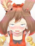 10s 1girl artist_request bare_shoulders blue_hair diglett female haruka_(pokemon) heavy_breathing horns kakuna nintendo pokemon pokemon_(game) pokemon_oras saliva scraggy sexually_suggestive solo sweat weedle