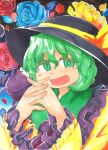 1girl blue_rose bow flower frills green_eyes green_hair hat hat_bow highres komeiji_koishi open_mouth ramototu rose solo steepled_fingers touhou traditional_media wide_sleeves yellow_rose