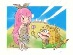 1boy 1girl axe barefoot blue_sky blush brown_eyes caveman cavewoman club fangs flower loincloth long_hair looking_at_another meme messy_hair mountain original pink_hair red_eyes signature sky spongebob_squarepants spongebob_squarepants_(character) takeuchi_kou weapon