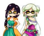 +_+ 2girls alternate_costume aori_(splatoon) bianca bianca_(cosplay) black_hair brown_eyes cowboy_shot dragon_quest dragon_quest_v dress earrings flora flora_(cosplay) grey_hair hands_on_hips hotaru_(splatoon) jewelry long_hair looking_at_viewer mole mole_under_eye multiple_girls short_hair smile splatoon standing tentacle_hair white_background yuta_agc
