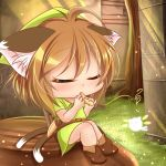1girl animal_ears chen child closed_eyes deformed fairy grass hat instrument kurumai multiple_tails nintendo outdoors shield shiny shiny_hair shiny_skin short_hair sitting solo tail the_legend_of_zelda touhou triforce