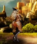 1girl amazon amazon_(dragon's_crown) animated animated_gif ass attack bikini blonde_hair boots bouncing_breasts breasts dragon's_crown feather female gloves hips holding kick large_breasts long_boots long_hair motion_blur muscle outside skeleton solo swimsuit sword tattoo thick_thighs thighs undead vanillaware wide_hips
