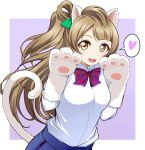 1girl animal_ears asymmetrical_hair blush brown_eyes brown_hair cat_tail female gloves heart long_hair looking_at_viewer love_live!_school_idol_project minami_kotori paws school_uniform side_ponytail smile solo tail uniform wewe