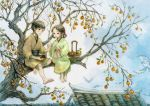 1boy 1girl barefoot basket bird blue_sky brown_hair child clouds dove food fruit full_body hair_rings hair_tie house in_tree ko_hokoryoku open_mouth original outdoors persimmon rooftop sitting sitting_in_tree sky tree