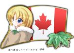 1girl blonde_hair blue_eyes canada canadian_flag flag leaves maple_leaf murakami_senami