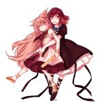 2girls alternate_hairstyle black_dress brown_hair carrying dress frilled_sleeves frills full_body gradient_hair grin hair_between_eyes height_difference highres hijiri_byakuren hug hug_from_behind long_dress long_hair looking_at_viewer multicolored_hair multiple_girls open_mouth pointy_hair puffy_short_sleeves puffy_sleeves purple_hair ritual_baton sandals sarashi shirt short_hair short_sleeves sleeveless sleeveless_shirt smile tis_(shan0x0shan) touhou toyosatomimi_no_miko two-tone_hair wavy_hair white_background