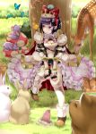 1girl animal animal_on_head animal_on_shoulder armor bangs bear bird bird_on_head bird_on_shoulder black_hair blunt_bangs blush boots bow breasts butterfly cherry chipmunk cleavage closed_mouth clover_(flower) deer flower food fruit full_body gem grass hair_bow hand_on_own_knee highres holding mole mouse mouth_hold mushroom original outdoors pink_eyes rabbit red_bow red_eyes rin2008 seed sitting skirt smile squirrel tiara tree