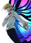 1boy anime_coloring antennae blonde_hair brown_eyes butterfly_wings collared_shirt dutch_angle frills half-closed_eyes hand_on_own_chest hunter_x_hunter looking_at_viewer maazyu male_focus pale_skin parted_lips shaiapouf simple_background smile solo white_background wings