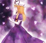 1girl blonde_hair blush breasts choker dress elbow_gloves eyes from_side gap gloves glowing_butterfly hand_up hat hat_ribbon koto_(shiberia39) mob_cap profile puffy_short_sleeves puffy_sleeves purple purple_dress ribbon ribbon_choker short_sleeves smile solo touhou violet_eyes white_gloves yakumo_yukari