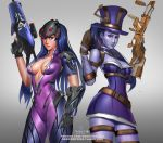 badcompzero belt blizzard_(company) blue_eyes blue_hair breasts caitlyn_(league_of_legends) caitlyn_(league_of_legends)_(cosplay) choker cleavage cosplay costume_switch grey_background gun hat head_mounted_display hips league_of_legends lips looking_at_viewer overwatch parted_lips ponytail purple_skin rifle riot_games skirt sniper_rifle thighs trait_connection weapon widowmaker_(overwatch) widowmaker_(overwatch)_(cosplay) yellow_eyes