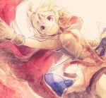 1girl armpits cape earmuffs makuwauri outstretched_arm ritual_baton smile solo touhou toyosatomimi_no_miko upper_body wrist_cuffs