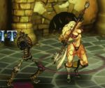 1girl amazon amazon_(dragon's_crown) animated animated_gif attack axe bikini blocking blonde_hair boots bouncing_breasts breasts dragon's_crown feather female gloves hips holding holding_weapon indoors large_breasts long_boots long_hair monster muscle skeleton solo_focus swimsuit sword tattoo thick_thighs thighs undead vanillaware weapon wide_hips