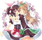 "1girl 2girls duo female hoshi long_hair love_live!_school_idol_project minami_kotori mogyutto_""love""_de_sekkin_chuu! multiple_girls tied_hair twintails yazawa_nico"