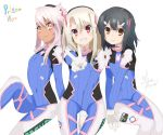 3girls :d acronym arm_at_side artist_request bangs between_legs black_hair blonde_hair bodysuit boots bracer bunny_print character_name chloe_von_einzbern cosplay covered_navel d.va_(overwatch) d.va_(overwatch)_(cosplay) dark_skin emblem eyebrows eyebrows_visible_through_hair eyelashes fate/kaleid_liner_prisma_illya fate_(series) gloves grapesoda grin hair_between_eyes hair_ornament hairclip hand_between_legs highres illyasviel_von_einzbern logo long_hair looking_at_viewer miyu_edelfelt multiple_girls open_mouth orange_eyes overwatch pilot_suit pink_hair red_eyes ribbed_bodysuit short_hair signature simple_background sitting smile thigh-highs thigh_boots thigh_strap turtleneck v white_background white_boots white_gloves yellow_eyes