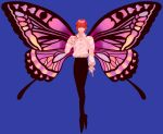 1boy antennae blue_background brown_eyes butterfly_wings closed_mouth collarbone collared_shirt frills full_body half-closed_eyes hand_on_own_chest heart hunter_x_hunter k_(kktkk) male_focus orange_hair shaiapouf simple_background smile solo wings