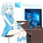 1girl absurdres blue_eyes blue_hair braid computer copyright_name dell desk hair_ornament hair_rings highres legs_crossed looking_at_viewer madobe_tooko microsoft necktie os-tan phone sitting solo tablet windows_10