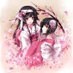1boy 1girl alluka_zoldyck androgynous black_hair cherry_blossoms child chrysanthemum crossdressing drugstore04 from_behind hair_ornament hair_ribbon hunter_x_hunter japanese_clothes kalluto_zoldyck kimono long_hair looking_at_viewer open_mouth petals pink pink_eyes profile ribbon simple_background smile traditional_clothes trap