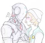 1girl antiheld beanie blonde_hair blush couple extra green_eyes hand_holding hat highres looking_at_another npc omnic overwatch pale_color robot short_hair smiley_face white_background