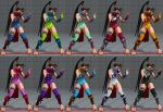 1girl 3d alternate_color alternate_costume antenna_hair arm_guards barefoot capcom fighting_stance high_ponytail ibuki_(street_fighter) kunai multiple_views one-piece_swimsuit ponytail scarf school_swimsuit shin_guards street_fighter street_fighter_v swimsuit thick_thighs thigh-highs thigh_holster toned variations