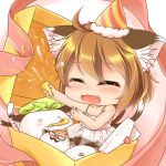 1girl animal_ears blush chen chibi child closed_eyes deformed dress fang glasses happy_birthday hat heart kurumai letter multiple_tails open_mouth shiny shiny_hair shiny_skin short_hair tail touhou