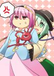 2girls :d anger_vein annoyed belly_poke belly_rub blouse breasts clenched_hands fat green_eyes green_hair hairband hat hug hug_from_behind komeiji_koishi komeiji_satori moja_(moja4192) multiple_girls open_mouth pink_hair plump red_eyes short_hair siblings sisters small_breasts smile spoken_anger_vein third_eye touhou triangle_mouth