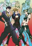 blonde_hair blue_eyes blue_hair braid brooch crazy_diamond gakuran giorno_giovanna gold_experience_requiem green_eyes green_hair hand_on_own_ass heart higashikata_jousuke jewelry jojo_no_kimyou_na_bouken jojo_pose kuujou_jolyne ladybug multicolored_hair navel_piercing peace_symbol piercing pompadour pose purple_hair school_uniform shin_geum_ha single_braid stand_(jojo) star stone_free two-tone_hair violet_eyes