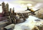 aa_gun aircraft airplane cannon clouds commentary dock factory flying fortress harbor highres kantai_collection kobaman_annwn nakajima_a6m2-n no_humans ocean scenery seaplane ship signature sky sunrise torii turret wall water watercraft