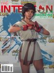 1girl alternate_costume brown_hair buruma capcom cover dougi headband highres kasugano_sakura magazine_cover muhammed_ansar_ali realistic scar shiny shiny_hair solo street_fighter street_fighter_iv street_fighter_iv_(series)