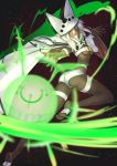 1girl ass belt belt_buckle beltbra black_background blurry breasts buckle cape coin_(ornament) colored_eyelashes dark_skin depth_of_field glowing guilty_gear guilty_gear_xrd hair_between_eyes hat highres leg_up light_particles lip-mil long_hair looking_at_viewer looking_back magic navel outstretched_arm palms parted_lips pillow_hat ramlethal_valentine revealing_clothes ribs short_shorts shorts soles solo sphere thigh_strap under_boob white_cape white_hair white_hat white_shorts wrist_cuffs yellow_eyes