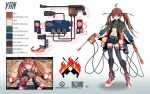1girl absurdres blizzard_(company) brown_hair character_profile character_sheet copyright_name gun highres langjiao long_hair midriff original overwatch red_eyes solo thigh-highs twintails weapon