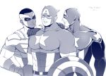 3boys abs captain_america character_request happy_birthday male_focus marvel mask monochrome multiple_boys muscle pecs smile tagme teeth white_background