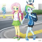 3girls derpy_hooves fluttershy multiple_girls my_little_pony my_little_pony_equestria_girls my_little_pony_friendship_is_magic personification rainbow_dash soccer_ball tagme uotapo younger