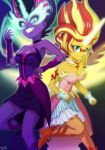 2girls dark_persona multiple_girls my_little_pony my_little_pony_equestria_girls my_little_pony_friendship_is_magic personification sunset_shimmer tagme twilight_sparkle uotapo