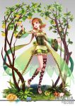 1girl :d ankle_lace-up armpits artist_name bangs barefoot barefoot_sandals blue_flower breasts brooch character_name copyright_name corset cosplay cross-laced_footwear curry_bowl demeter_(mythology) demeter_(mythology)_(cosplay) detached_sleeves dress flower flower_request food fruit full_body gem goddess gradient gradient_background grass greek_mythology green_dress green_flower grey_background hair_ornament hairband hand_up jewelry looking_away looking_to_the_side love_live! love_live!_school_idol_project love_live!_sunshine!! mismatched_legwear mythology nature open_mouth orange orange_hair outstretched_arm pink_flower red_eyes red_flower scarf short_dress small_breasts smile solo standing standing_on_one_leg takami_chika tree waist_cape wide_sleeves yellow_flower yellow_scarf