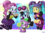 1boy 3girls dog multiple_girls my_little_pony my_little_pony_equestria_girls my_little_pony_friendship_is_magic photo_finish pixel_pizzaz spike_(my_little_pony) tagme uotapo violet_blurr