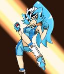 1girl a.k.o.t. blue_eyes blue_hair cosplay helmet ibuki_(pokemon) koruni_(pokemon) koruni_(pokemon)_(cosplay) long_hair pokemon pokemon_(game) pokemon_gsc pokemon_hgss pokemon_xy skates solo