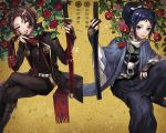 2boys black_hair blue_eyes bridal_gauntlets brown_hair camellia_(flower) earrings finger_to_mouth flower hakama hanasaki_coa haori japanese_clothes jewelry kashuu_kiyomitsu katana leaf legs_crossed male_focus mole mole_under_eye mole_under_mouth multiple_boys nail_polish ponytail red_eyes red_nails red_rose rose sandals scarf sitting smile sword tabi touken_ranbu weapon yamato-no-kami_yasusada