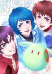 3boys amuro_ray blue_eyes blue_hair brown_eyes brown_hair character_request chikimai copyright_name dated from_above green_eyes grin gundam happy_birthday haro judau_ashta kamille_bidan long_sleeves male_focus multiple_boys one_eye_closed open_mouth purple_hair smile zeta_gundam