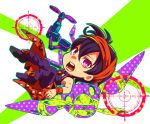 1boy aerosmith_(stand) chibi crosshair full_body hairband jojo_no_kimyou_na_bouken koma_saburou male_focus narancia_ghirga open_mouth pants polka_dot purple_hair solo stand_(jojo) violet_eyes wristband