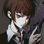 1girl brown_eyes brown_hair gun ilya_kuvshinov psycho-pass short_hair solo tsunemori_akane weapon