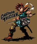 chrono_trigger crono green_eyes headband looking_back male rainbow red_hair redhead solo sword weapon wristband yapo