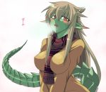 breast_squeeze breasts breath casual cold dragon_girl dragon_tail dragonian_sempai erect_nipples fang green_skin large_breasts light_brown_hair long_hair messy_hair monster_girl ooike_teru original pointy_ears red_eyes reptilian ryujin_senpai ryuujin_no_senpai scales scarf solo tail