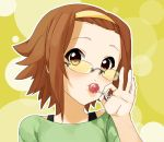 brown_hair candy glasses hairband hands k-on! kaisenn lollipop short_hair solo sunglasses tainaka_ritsu tomboy