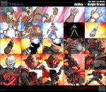 armor ashley_winchester beam belt_buckle blue_hair burning cape character_name clenched_teeth engrish fire gloves glowing glowing_eyes green_eyes helmet highres kaneko_tsukasa knight knight_blazer light male multiple_boys open_mouth ranguage scarf skeleton skull spiked_hair title_drop transformation translated wild_arms wild_arms_2