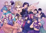 3girls 6+boys bruno_bucciarati caesar_anthonio_zeppeli dio_brando everyone giorno_giovanna gyro_zeppeli hermes_costello higashikata_jousuke higashikata_jousuke_(jojolion) highres hirose_yasuho johnny_joestar jojo_no_kimyou_na_bouken jojolion jonathan_joestar joseph_joestar_(young) kakyouin_noriaki kuujou_jolyne kuujou_joutarou multiple_boys multiple_girls nijimura_okuyasu steel_ball_run sutocking