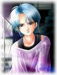 blue_eyes blue_hair chainlink_fence fence four_murasame gundam lipstick outdoors purple_lipstick short_hair tunic zeta_gundam zummy zummy-flyer