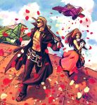 belt blonde_hair brown_eyes brown_hair cloud clouds gloves guilty_gear hat johnny johnny_(guilty_gear) long_hair may may_(guilty_gear) muscle petals pirate_hat sword weapon y.silk