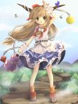 >:o :o alice_margatroid bad_id belt bow broom broom_riding brown_eyes brown_hair chain child cloud forest gourd hair_bow hanabana_tsubomi highres horn_ribbon horns ibuki_suika kirisame_marisa looking_at_viewer mountain multiple_girls nature notenotenote outdoors ribbon rock skirt sky sleeveless standing touhou wrist_cuffs