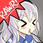 >o< 1girl employee_uniform gao kantai_collection kashima_(kantai_collection) lawson lowres lumineko open_mouth pocky uniform