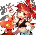 1girl asuna_(pokemon) breasts female gym_leader nintendo noni-nani pokemon ponytail redhead slugma smile